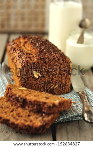 Whole-Grain Loaf Cake with Milk and Yogurt - stock photo
