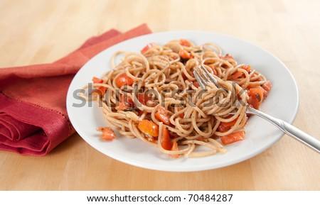 Whole Grain Pasta Spaghetti with Freshly Made Sauce - stock photo