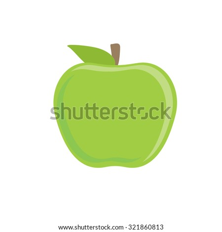 Whole green apple raster isolated, fruit healthy, fresh fruit, healthy food - stock photo