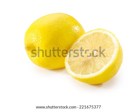 whole lemon and half close-up on white background - stock photo