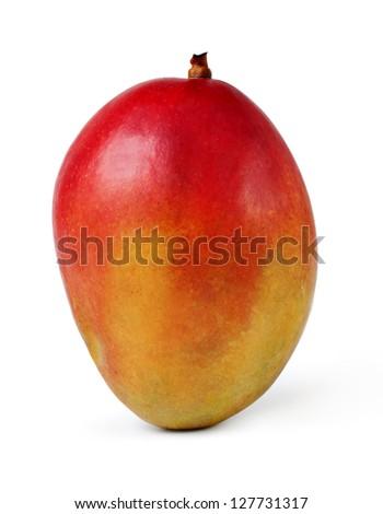 whole mango fruits on white background - stock photo