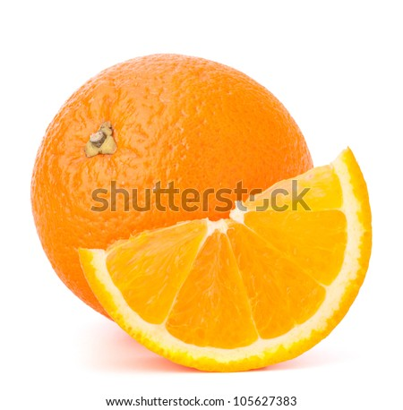 Whole orange fruit and his segment or cantle isolated on white background cutout - stock photo