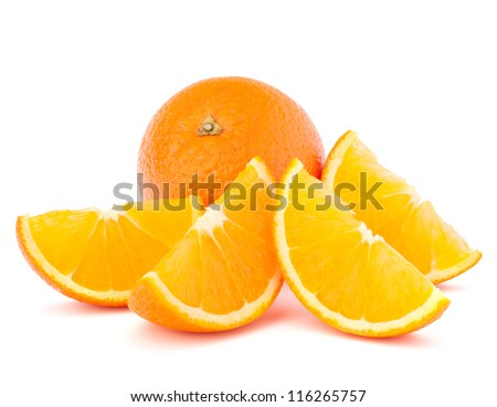 Whole orange fruit and his segments or cantles isolated on white background cutout - stock photo