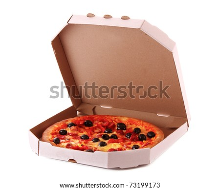 Whole pepperoni with olives pizza in box over white background - stock photo