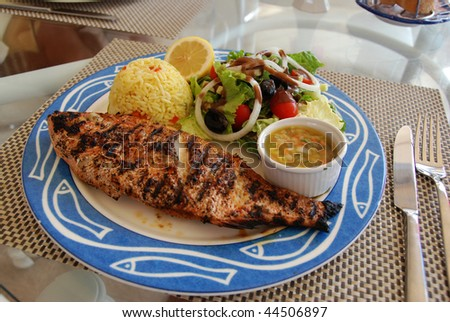Whole Red snapper dinner with rice and creole sauce - stock photo
