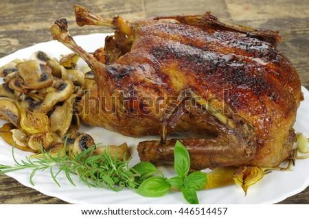 whole roast honey duck on white plate - stock photo