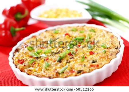 "Whole tuna pie with cor, paprika and onion ""pizza"" - stock photo"