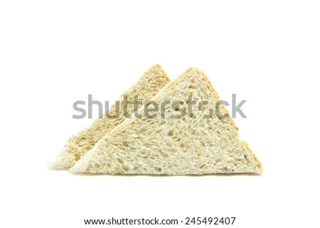 Whole wheat and oat bread sandwich raw on white background - stock photo