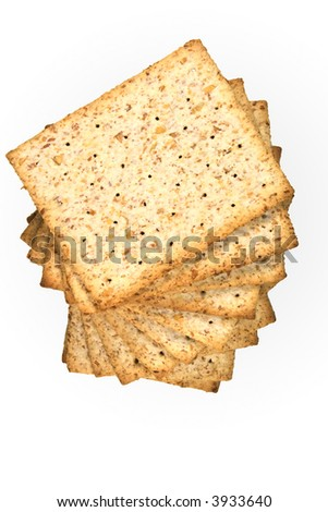 whole wheat biscuits isolated on white - stock photo