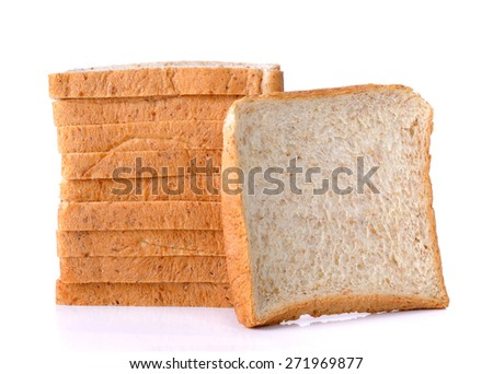 whole wheat Bread isolated on the white background. - stock photo