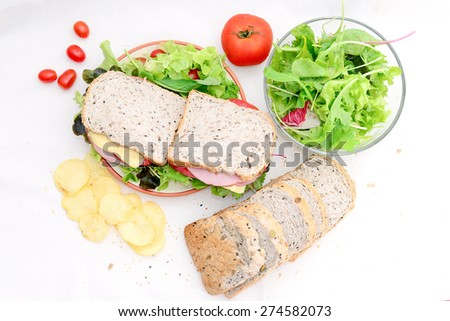 Whole Wheat Sandwiches with Salad - stock photo