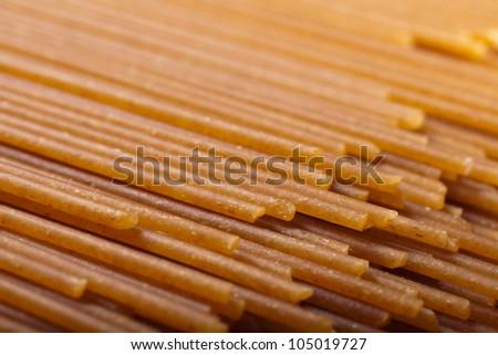 whole wheat spaghetti - stock photo