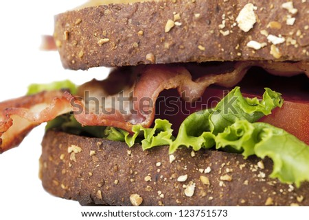 Whole wheat toasted BLT in a macro image - stock photo