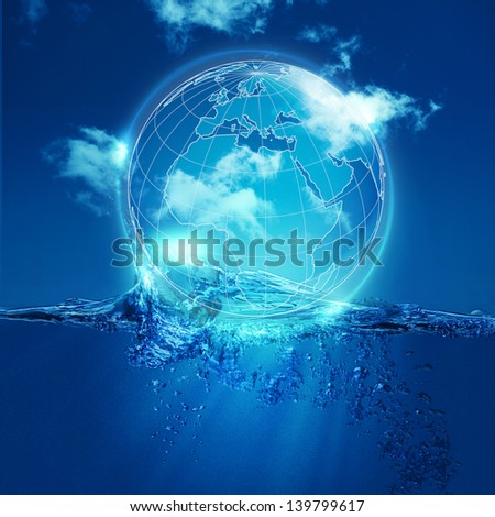 Whole world into the water bubble, environmental backgrounds - stock photo