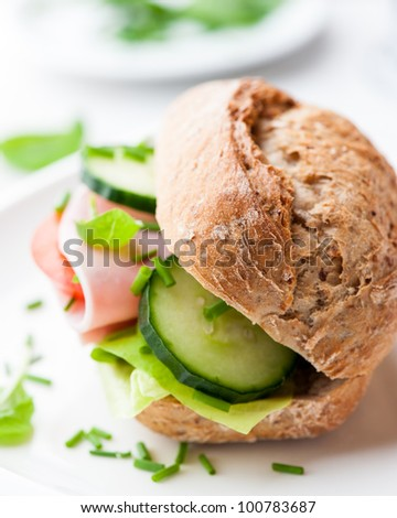 Wholemeal Sandwich with Ham and Vegetables - stock photo