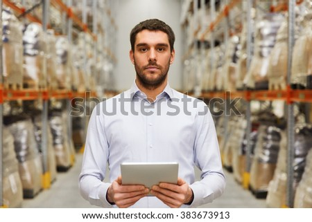 wholesale, logistic, business, export and people concept - man or manager with tablet pc computer at warehouse - stock photo