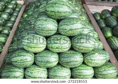 Wholesale Market Watermelon, Citrullus lanatus, in thailand - stock photo