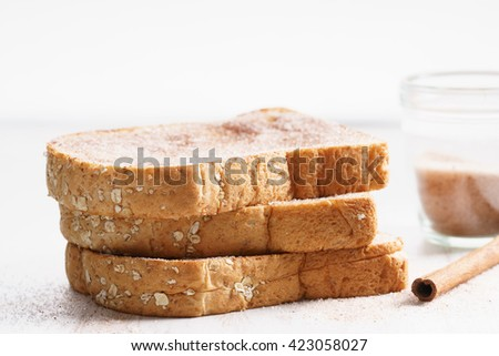 wholewheat bread toast with cinnamon sugar - stock photo