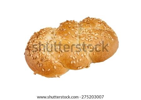 Wholewheat bun isolated on a white background. - stock photo