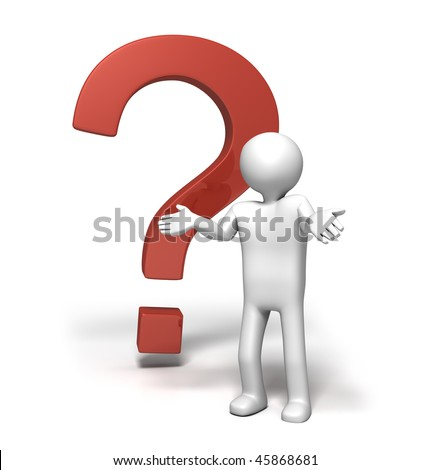 Why?!! (3D character shrugging shoulder in front of a big red question mark) - stock photo