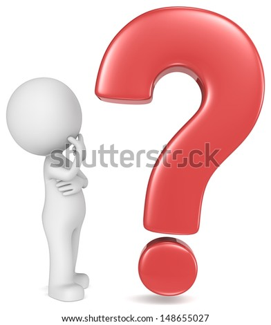 Why. The Dude looking at red question mark.  - stock photo
