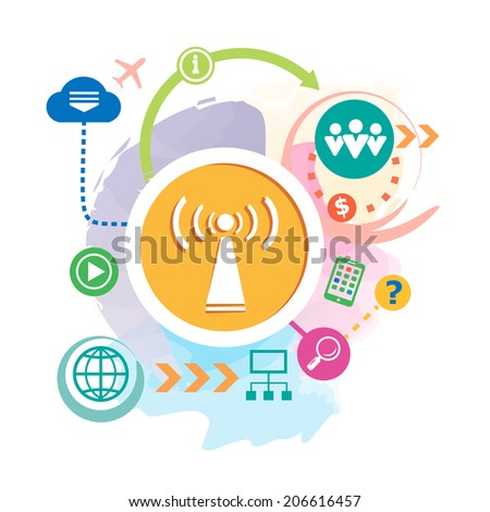 Wi fi and cloud on abstract background. Raster version for the print, advertising. - stock photo