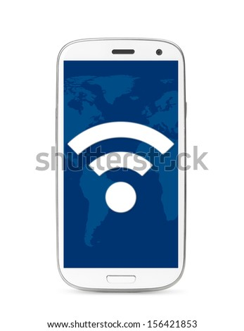 wi-fi icon on touch screen phone, cut out from white. - stock photo