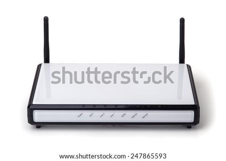 Wi-fi modem isolated on white background. - stock photo