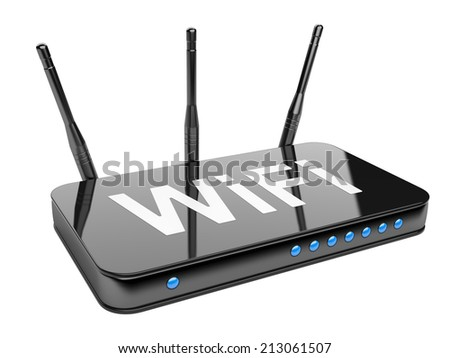 Wi-Fi Router. Isolated on a white background 3d image - stock photo