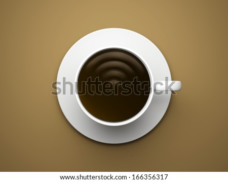 Wi-fi sign in coffee cup - stock photo