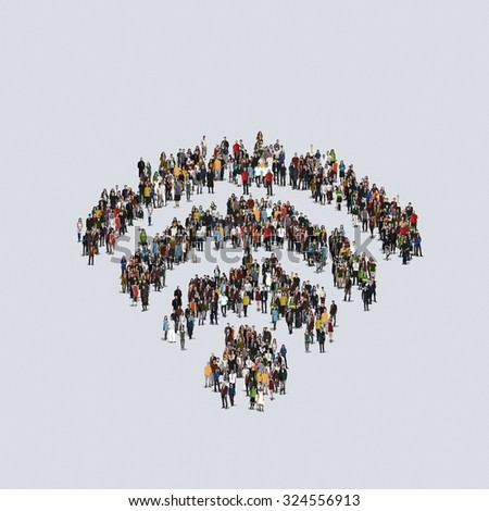Wi-Fi symbol.  Large group of people, crowd forming various shapes across surface on grayish constant background for posters and advertisement. - stock photo