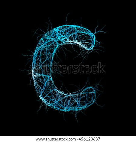 Wicker Alphabet. Letter c. Neurone concept. 3D illustration - stock photo