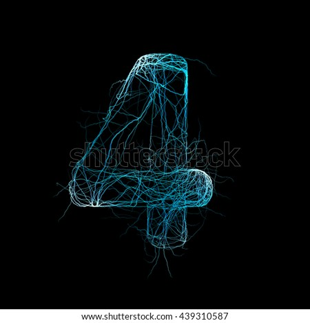Wicker Alphabet. Neurone concept. 3D illustration - stock photo