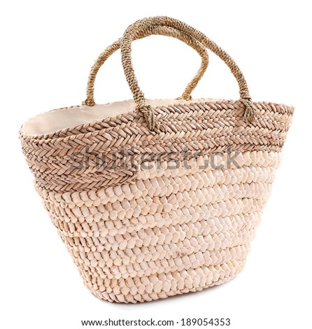 Wicker bag isolated on white - stock photo