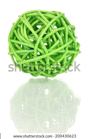 wicker bamboo ball isolated on white - stock photo