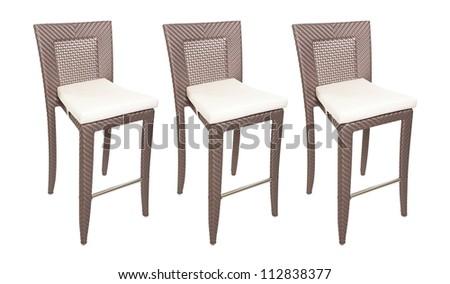 Wicker bar stools - stock photo