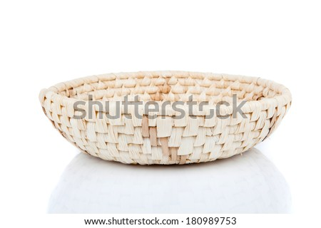 wicker basket, isolated on a white background - stock photo