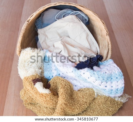Wicker baskets, clothes washing preparations - stock photo