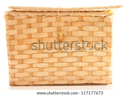 Wicker box with zip isolated on white - stock photo