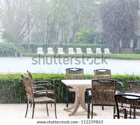 Wicker chair in the rain time beside the pool. - stock photo