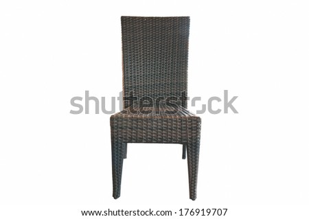 wicker chair isolated on white background - stock photo