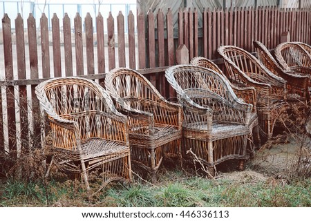 Wicker chairs. - stock photo