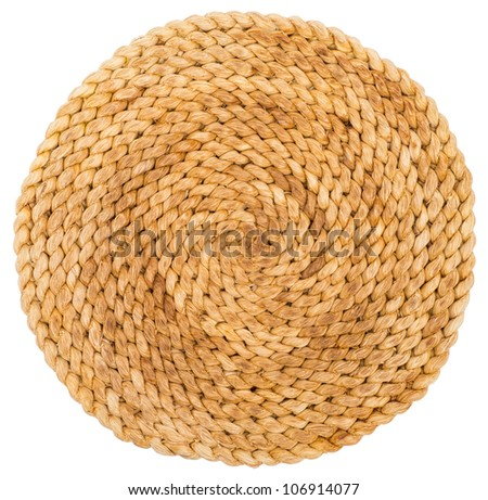 Wicker placemat isolated on white with clipping path - stock photo