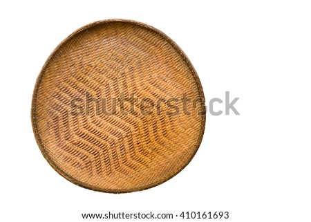 Wicker tray. Isolated on white background with copy space - stock photo