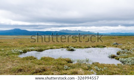 Wide and flat tundra area in the highlands. Pond of water in front. Mountain ridge in the background. Cloudy sky. Sweden. - stock photo