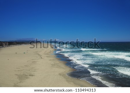 wide and large Ocean Beach in San Francisco, view from Cliff House - stock photo