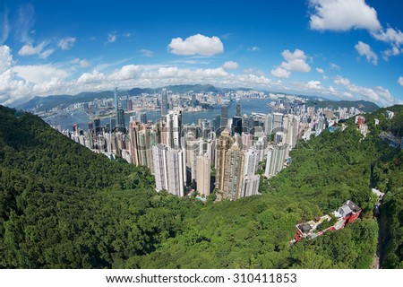 Wide angle aerial view to the Hong Kong city, China. - stock photo