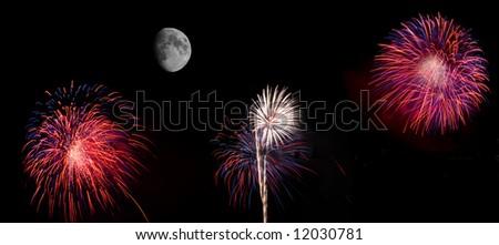 Wide angle high resolution fireworks panorama - stock photo