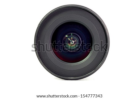 wide angle lens isolate white background - stock photo