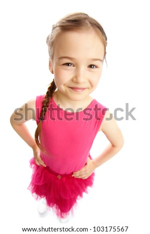 Wide angle of a charming girl smiling at camera, isolated on white background - stock photo